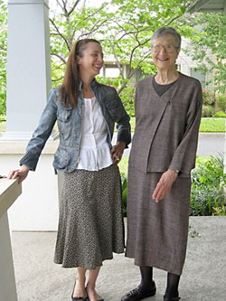 Natalie de Blois (r), with architect Heidi Goebel, during a 2010 visit to Austin