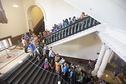 A scene from the legislative debate on abortion: The line of people waiting to sit in the Senate gallery trailed down three staircases.
