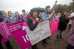 Luz Hernandez (l) and Doresia Gutierrez (r) at a February 2012 Planned Parenthood rally in support of birth control as part of health care coverage provided by Catholic or other religious-affiliated employers opposed to contraceptives