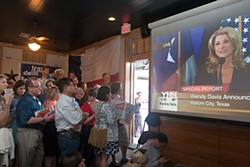 Wendy Davis supporters gathered at Scholz Garten on Thursday to watch the gubernatorial candidate's kickoff announcement.