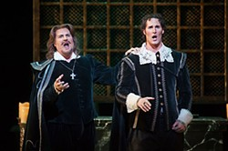 (l-r) Michael Chioldi as Rodrigo and James Valenti as Don Carlo