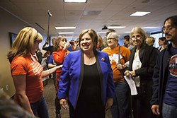 Van de Putte followed up her announcement in San Antonio with a visit to Austin, where she met with reporters and volunteers phone-banking for Wendy Davis.