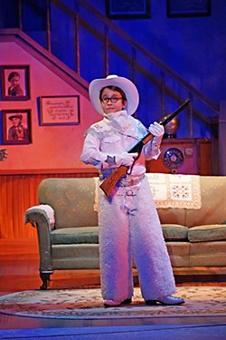 All together now: You'll put your eye out, kid!: Keaton Brandt as Ralphie with the BB gun of his dreams