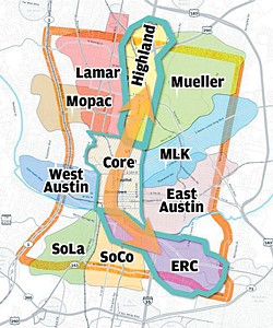 <b>Preferred Subcorridors:</b> In Phase 1 of their study, Project Connect planners studied 10 sub corridors in central Austin, and recommended Highland and the East Riverside Corridor (ERC) as the ones most suitable for the next major transit investment &ndash; presumably Austin's first urban rail line.