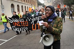 Students and other groups rallied Feb. 7 in protest of UT's ties to Accenture, which helped shape the controversial Shared Services program.