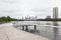 The new boardwalk along the south shore of Lady Bird Lake fills in a gap in the hike-and-bike trail and offers panoramic views of Austin's skyline. It opens to trail users June 7. For more images, see<b> <a href=http://austinchronicle.com/photos>austinchronicle.com/photos</a></b>.