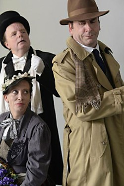 The makings of a wager: Col. Pickering (Craig Kanne), Eliza Doolittle (Amy Lewis), and Henry Higgins (Tom Chamberlain)