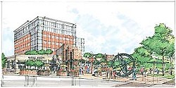 Artist rendering of the proposed Sixth + Lamar project, viewed from the intersection of those two streets