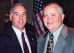 Former state Rep. Glen Maxey (r) is Texas coordinator for the presidential  campaign of former Vermont governor Dr. Howard Dean (l).  The candidate will be in Austin Monday, June 9, for the first local rally  by any of the announced Democratic contenders. The rally begins at  Plaza Saltillo at 8pm; Dean will speak around 9:15pm.