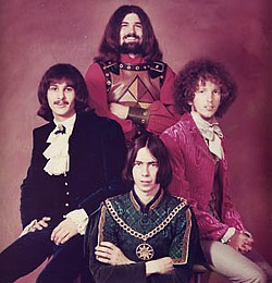 Cover shoot from Bubble Puppy's 1969 album,  <i>A Gathering of Promises</i>. Clockwise from left: Roy Cox, Rod Prince, David Fore, and Todd Potter