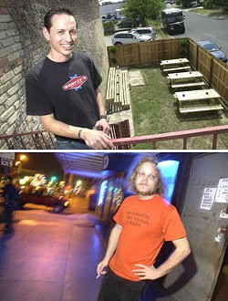 Patio, no patio: Marcos Canchola's hopeful Barfly's patio (top); Joe Sebastian of Room 710 says the club's busy sidewalk doesn't provide much hope.