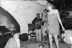 Clifford Antone (l) looks on at Miss Lavelle White, 1999.