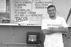 AVATACO President Polo Cadena in front of his stand, Taqueria el Rey Polo