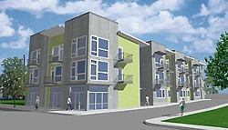East End Flats: Designed in the VMU spirit, this relatively affordable condo-retail project would need a neighborhood opt-in recommendation to take advantage of VMU zoning. Why? It's located on East 12th Street – not a Core Transit Corridor (Weiss Architecture).