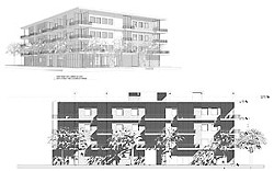 Sixth Street Lofts, 1620 E. Sixth: Proposed at 36 units; without the special VMU project incentives, only 21 units would be allowed (L. S. Johnston Architects).