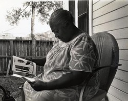 Clarksville native Zelma Maxwell on the porch of her neighborhood home directly behind Jeffrey's