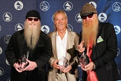 Gimme All Your Lovin': (l-r) Dusty Hill, Frank Beard, and Billy Gibbons accept ZZ Top's Recording Academy Honors award, Austin, November 2006.