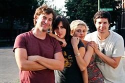 l-r: Mark Duplass, Ry Russo-Young, Greta Gerwig, and Kent Osborne during production of <i>Hannah Takes the Stairs</i>