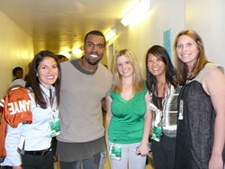 C3 Presents: Kanye West and the Erwin Centerettes (l-r), Laura Montez, Christina Kennedy, Anna Wong, and Kelly Brademan