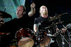 Metallica's Lars Ulrich (l) and James Hetfield at Ozzfest in Dallas, Aug. 9, 2008. 
