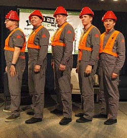 "Returning: With their iconic ""energy domes"" intact, Devo, pictured here at their SXSW interview, answered questions from the audience."