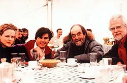 Nicole Kidman, Tom Cruise, Stanley Kubrick, and Jan Harlan on the set of <i>Eyes Wide Shut</i>.
