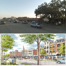 This is Duncanville, Texas – before and after. The after is simply a rendering of the development that would happen under the code. It is a result of the neighborhood asking how a local movie theatre would be designed and look under the form-based code on the corridor.