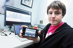Adam Saltsman with <i>Canabalt </i> on screens of various sizes