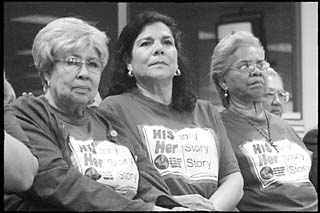Hispanic citizens drove from Brownsville to speak at the hearings. The group was wearing T-shirts that read His-story, Her-story, Our-story and spoke in favor of greater repesentation of the accomplishments and history of Hispanic Americans in social studies textbooks.
