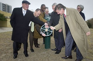 Righty tighty: City officials decommission Green Water Treatment Plant in 2008. Second from left are Rudy Garza, Marc Ott, and Greg Meszaros – figures in the MGT report and its aftermath.
