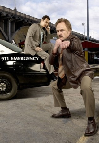Yes, The Good Guys shoots in Dallas, not Austin, but we just can't resist a crouching-tiger Bradley Whitford (right).