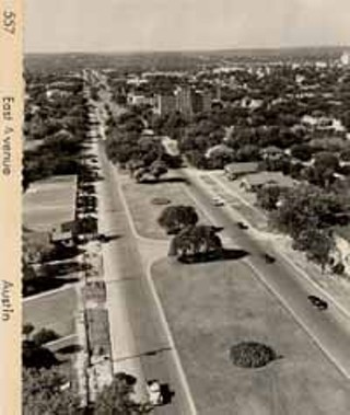 Before I-35, East Avenue was a tree-lined four-lane boulevard that fronted now-vanished center-city neighborhoods. (The large building at center is Brackenridge Hospital.) Today, the southbound I-35 access road is itself as wide as old East Avenue; the freeway right-of-way extends another 300 feet to the east, and TxDOT proposes to make it even wider.