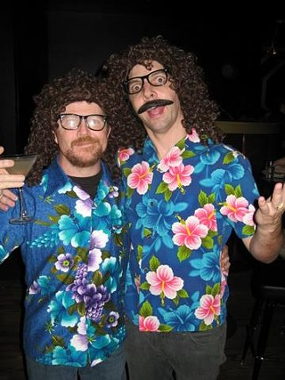 Owen Egerton (l) and Zack Carlson show their Yankovic love
