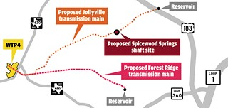 A proposed transmission line from WTP4 to the Jollyville storage tank has Spicewood Springs neighbors nervous.
