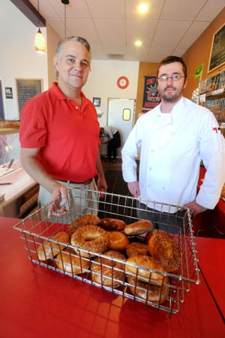 Wholy Bagel owner Scott Campanozzi (l) and baker Jase Fisher