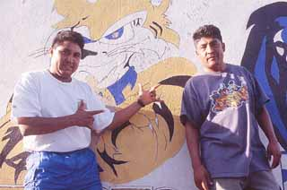 Javier Lopez (r) and bandmate Juan Medina in Colonia Independencia, birthplace of Monterrey's cumbia scene