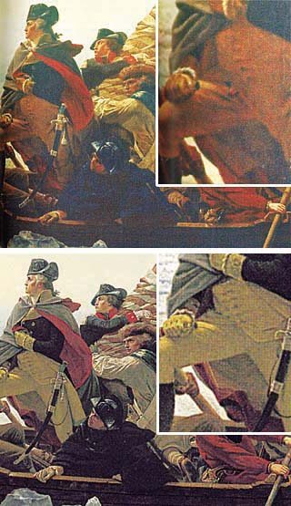 Top: Detail of Emanuel Leutze's <i>Washington Crossing the Delaware </i>(1851)  as accurately reproduced, complete with watch fob, in Prentice Hall's  <i>The American Nation</i>. Bottom: Detail of Eastman Johnson's contemporary copy  of Leutze's painting, lacking the watch fob, misrepresented as Leutze's  original in Holt Rinehart Winston's <i>Call to Freedom</i>.