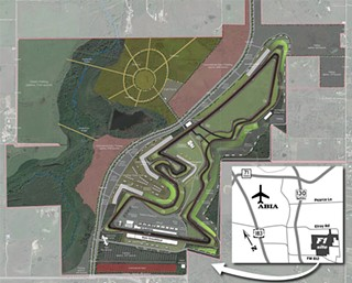 The 900-acre tract is intended to contain a 3.4-mile track, plus room for a kart track, testing and research facilities, and fan areas. The site is just seven miles from Bergstrom Airport, but officials question whether the road infrastructure, especially rural FM 812 and Pearce Lane, can withstand the projected traffic increase.