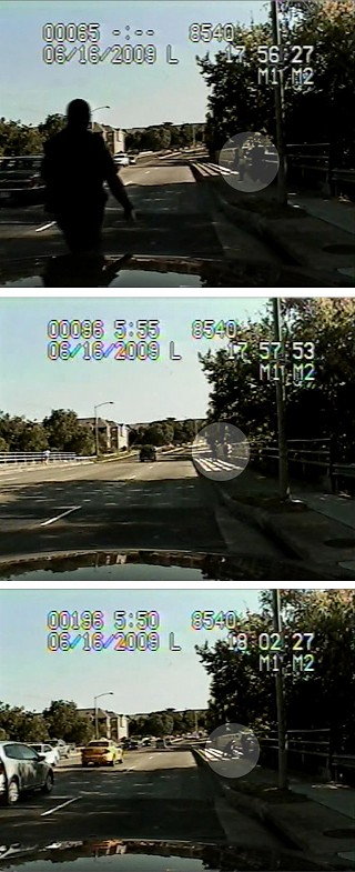 Three still shots taken from Austin Police Officer Steven Willis' patrol-car camera show the officer approaching Esther Valdez and Ceci Bermudez as they walk along the sidewalk (top) on Metric Boulevard, then talking with Bermudez (middle) before wrestling Valdez to the ground (bottom).