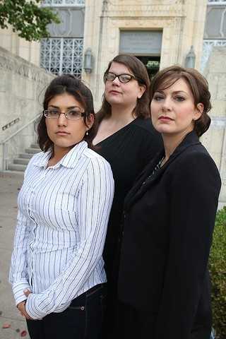 Esther Valdez (l), who is deaf, was charged with resisting arrest because she didn't hear a police officer's order; her attorney, Alexandra Gauthier (center), won a dismissal of the charge. Attorney Amber D. Farrelly Elliott (r) says APD has a history of missteps with deaf residents.