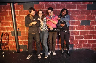Punch line or pinch line? With a line-up like this, we must be dreaming: (l-r) Jake Flores, Kerri Lendo, Seth Cockfield, and Lashonda Lester