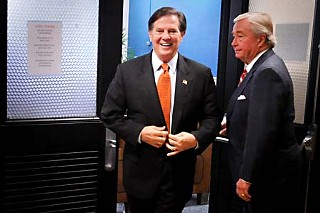 Tom DeLay (l) was all smiles before he was convicted.