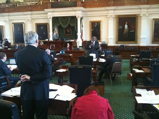 Sen. Troy Fraser, R-Horseshoe Bay, (left) debates his voter ID bill with Dallas Democrat Royce West.