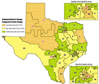 This map shows the relative rates of population growth in each of Texas' current congressional districts, as estimated in U.S. Census and state reports, across the state: less than average (orange), average (yellow), and greater than average (green). The greatest growth is in the urban or urbanizing corridors along I-35 and across to Houston, yet not necessarily in the urban cores (see insets).