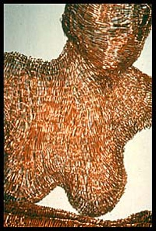 <i>At the Window</i>, woven copper wire, by Patricia Greene