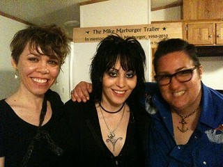 Joan Jett with Tina Sparkles (l) and the <i>Chronicle</i>'s Kate Messer