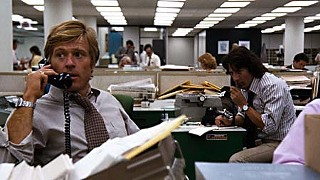 Robert Redford (l) and Dustin Hoffman playing Bob Woodward and Carl Bernstein, respectively, in <i>All the President's Men</i>