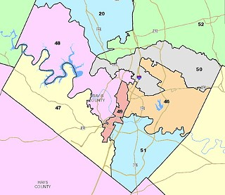 Rep. Burt Solomons' proposal for new House lines in Travis County. (click on image to see the current districts)
