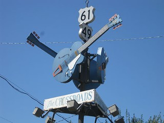 Ground zero: The crossroads of Highways 61 and 49 in Clarksdale, Miss.