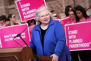 Texas attorney and former state Rep. Sarah Weddington speaking at the March rally for Planned Parenthood at the state Capitol